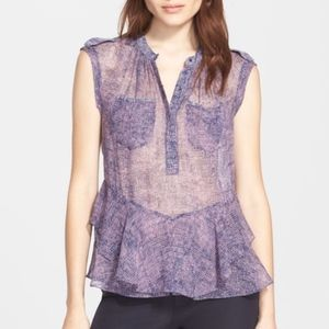 Rebecca Taylor Ruffle Hem Silk Sleeveless Blouse